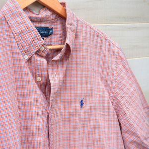 Ralph Lauren Orange Short Sleeve Button Down XL